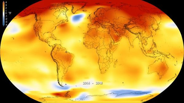صورة ثابتة توضح الارتفاع الحراري في بيانات ناسا وNOAA التي تلخص التغيرات المناخية العالمية. حقوق الصورة: NASA's Goddard Space Flight Center
