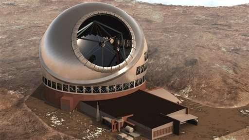 تُوضح هذه الصورة تصوراً فنياً للتلسكوب بفتحته البالغ قطرها 30 متراً، الذي ستبلغ تكلفته 1.4 مليار دولار، وقد تم استكمال أعمال البناء فيه في 24 يونيو/حزيران من هذا العام. AP Photo/Thirty Meter Telescope, File
