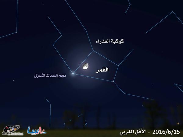 اقتران القمر مع نجم السماك الأعزل في كوكبة العذراء