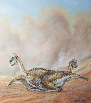 عمل فني يظهر ديناصورين من نوع الأوفيرابتوروصورس يحتضنان بعضهما في العصر الكريتاسي الأخير الذي مر على منغوليا قبل 70 مليون سنة. حقوق الصورة: COPYRIGHT MICHAEL W. SKREPNICK 2017