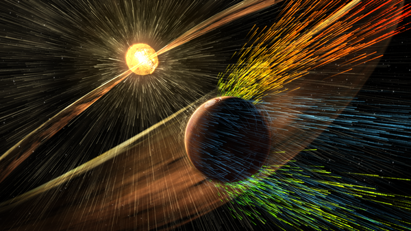 إظهار الفنانين لعاصفة شمسية تضرب كوكب المريخ وتعرية الأيونات من الغلاف الجوي العلوي للكوكب.