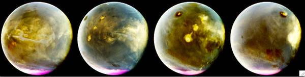 التقط جهاز المُحلّل الطيفي التصويريّ للأشعة فوق البنفسجية التابع لمافين هذه الصور للتكوّن السريع للغيوم على سطح المريخ في 9-10 تموز/يوليو 2016، وعولجت صور الأشعة فوق البنفسجية لتظهر بألوان مغايرة، وذلك لإظهار ما يمكن أن نراه بأعين حساسة للأشعة فوق البنفسجية، حبث تدمج السلسلة صور مافين لإظهار حوالي 7 ساعات من دوران المريخ في هذه الفترة، ما يزيد عن ربع يوم مريخي الجانب الأيسر هو الجانب النهاري من الكوكب، بينما الجانب الأيمن فهو الجانب الليلي منه. يظهر البركان المريخي الأطول أوليمبس مونس Olympus Mons كمنطقة مظلمة بارزة قرب الجزء العلوي من الصورة، على قمته سحابة بيضاء صغيرة تكبر أثناء النهار. يظهر البركان أوليمبس مونس مظلماً بسبب ارتفاعه فوق الكثير من الجو الضبابي مما يظهر باقي الكوكب مضاءً أكثر.    تظهر ثلاثة براكين أخرى في صف قطري بغطائهم السحابي المتداخل الذي يصل إلى ألف ميل في نهاية اليوم. تُثير هذه الصور الانتباه بشكل خاص لأنها تُظهر مدى سرعة تكوُّن السحب على قمم البراكين واتساع نطاقها في فترة ما بعد الظهر. تحدث عمليات مماثلة لهذه على كوكب الأرض. وذلك عند تدفق الرياح فوق البراكين فتتكوُّن السحب. تحدث عملية تكوُّن السحب بعد الظهر في الغرب الأمريكي، خصوصًا خلال فصل الصيف.  Credits: NASA/MAVEN/University of Colorado