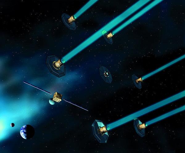 انطباع فنان عن بعثة داروين التي اقترحتها وكالة الفضاء الأوروبية، ستة أقمار صناعية محلقة سوف تبحث عن الكواكب الخارجية. حقوق الصورة: ESA/Medialab