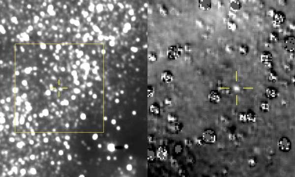 """الشكل على اليسار عبارة عن صورة مركبة ناتجة عن إضافة 48 تعريضًا مختلفًا من التصوير الاستقصائي واسع المجال Long Range Reconnaissance Imager (يُطلَق عليه اختصارًا لوري LORRI) الخاص بـ نيو هورايزونز New Horizons، كل منها مدة تعريضه 29.967 ثانية، مأخوذة في 16 آب/أغسطس 2018. الموقع المتوقع لجسم حزام كويبر Kuiper Belt المدعو ألتيما ثول Ultima Thule في وسط الصندوق الأصفر، ويشار إليه بالتشابكات الصفراء، الموجود تمامًا فوق ويسار نجم قريب يعادل لمعانه 17 مرةً لمعان ألتيما تقريبًا. على اليمين، هناك منظرٌ مُكبَّر للمنطقة في الصندوق الأصفر بعد إقصاء مجال النجم في الخلفية """"قالبه"""" والمأخوذة من لوري في أيلول/سبتمبر عام 2017 قبل الكشف عن الجسم نفسه. كُشِف ألتيما بشكلٍ واضحٍ في الصورة المُقصاة منها الخلفية النجمية، وهو قريبٌ للغاية من الموقع الذي تنبأ العلماء به، مما يشير إلى أن فريق نيو هورايزونز يستهدف الجهة الصحيحة. الآثار العديدة الصنعية الموجودة في الصورة منزوعة الخلفية النجمية ناتجة إما بسبب سوء التوثيق بين صور لوري الجديدة والقالب، أو بسبب اختلافات لمعان النجوم الحقيقية. لدى الحصول على هذه المشاهدات، كان ألتيما ثول يبعد 107 مليون ميل (172 مليون كيلومتر) عن المركبة الفضائية نيو هورايزونز، و4 مليون ميل (5.5 مليون كيلومتر) عن الشمس.حقوق الصورة: NASA/Johns Hopkins University Applied Physics Laboratory/Southwest Research Institute"""