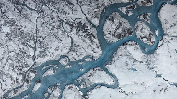 أنهار من المياه الذائبة وغلاف من السخام، والغبار، والميكروبات تلقي بظلالها على الجليد وتسرع الذوبان. قد فاق ذوبان السطح الآن تصريف الجبال الجليدية في المحيط والذي يعتبر السبب الرئيسي للخسارة الكتلية المصدر: ماركو تيديسكو Marco Tedesco /لامونت دوهرتي لمراقبة الأرض Lamont Doherty Earth Observatory