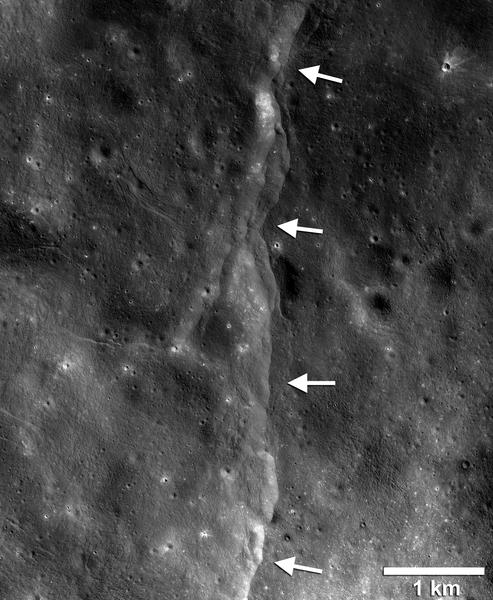 أظهرت الصور التي التقطتها كاميرا المستكشف المداري القمري Reconnaissance Orbiter Camera آلاف المنحدرات الصدعية المفصصة والدفعية حديثة التشكّل. تُشبه المنحدرات المفصصة الظاهرة في هذه الصورة عتبات أو درج ضمن هذا المشهد المُتشكّل نتيجة اندفاع مواد القشرة معاً وتحطمها ومن ثم انطلاقها باتجاه الأعلى على طول الصدع مُشكّلة جُرفاً صخرياً. تُؤدي عملية تبريد باطن القمر الساخن إلى حدوث تقلّص في حجم القمر نفسه، لكن نمط اتجاهات هذه المنحدرات الصدعية يُشير إلى أن القوى المدّية تلعب دوراً مهماً في تشكّل الصدوع حديثة التشكّل. حقوق الصورة: ناسا/المستكشف المداري القمري/جامعة ولاية أريزونا/مؤسسة سميثسونيان