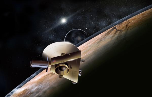 تصور فنان للمركبة الفضائية نيوهورايزنز في بلوتو Credit : معهد جامعة جونز هوبكنز مختبر الفيزياء التطبيقية جنوب غرب البحوث (JHUAPL / SwRI)