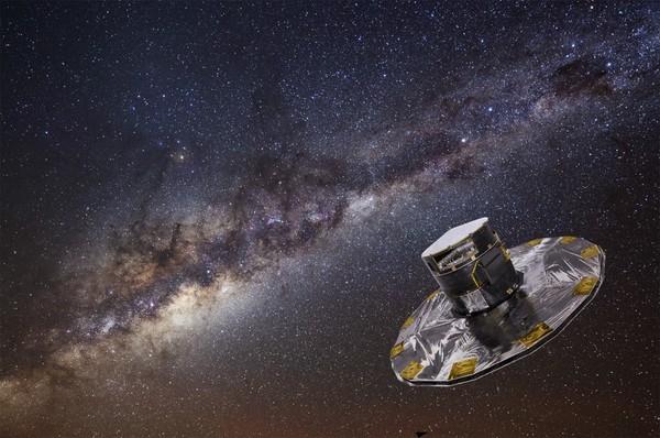مفهوم فني لخلفية صورة فوتوغرافية مأخوذة من التلسكوب غايا Gaia لمجرة درب التبانة، مأخوذة من المرصد الجنوبي الأوروبي.  المصادر: ESA/ATG medialab; background: ESO/S. Brunier