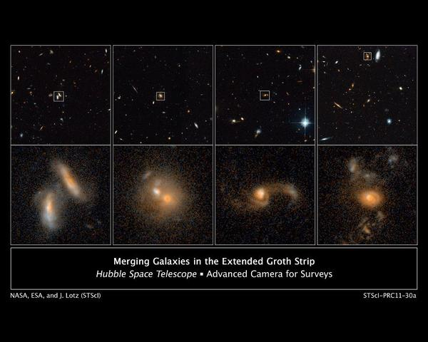 صور من هابل في عامي 2004 و2005 تظهر أربعة أمثلة عن المجرات المتداخلة (في مراحل مختلفة من العملية) بعيداً عن الأرض.
