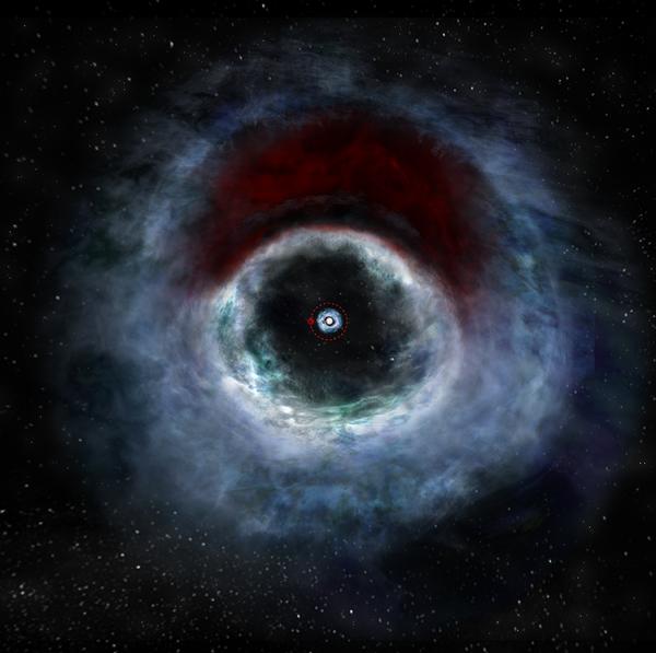 رسم فني يوضح نظام النجم الثنائي HD 142527 مأخوذ من البيانات التي التقطتها صفيفة أتاكاما الكبيرة المليمترية/دون المليمترية. يمثل الجسم الأحمر الذي يدور حول المركز نجماً مرافقاً منخفض الكتلة. الملكية: B. Saxton/NRAO/AUI/NSF.