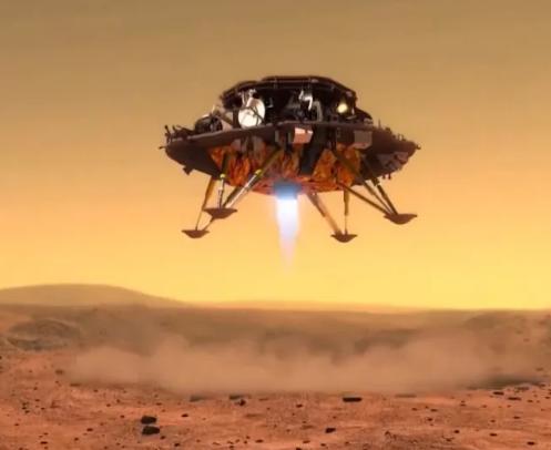 صورة فنية لهبوط مركبةتيانوين 1 على سطح المريخ باستخدام صواريخها الكبحية في المرحلة الأخيرة من عملية الهبوط. حقوق الصورة:CNSA