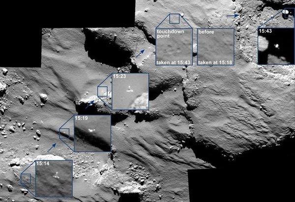 اللحظات الأخيرة من هبوط فيلي، حيث تَظهر آثار هبوطه وابتعاده عن الموقع آغيليكا. تم تصوير ذلك بكاميرا OSIRIS التابعة لروزيتّا، وننوّه إلى أنّ جميع الأوقات الظاهرة هي حسب التّوقيت على متن المركبات الفضائية.
