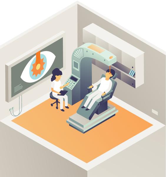 استخدام حِزَم الليزر المنفصلة و عالية الكثافة في جراحة العيون.