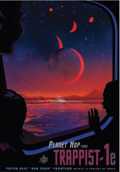 يصور هذا الملصق رسما تخيليا لما قد يكون عليه الحال في رحلة إلى TRAPPIST-1e. Credits: NASA/JPL-Caltech