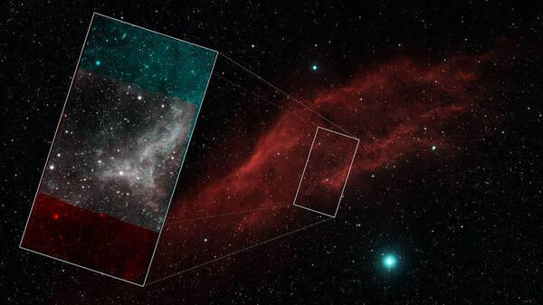 عرض لسديم كاليفورنيا في الضوء المرئي. تُظهر الصورة المدرجة من الجزء الداخلي للسديم القطاع الذي تم تصويره بواسطة تيليسكوب سبيتزر-المتقاعد حديثاً-والذي استكشف الكون من خلال الأشعة تحت الحمراء. حقوق الصورة: NASA/JPL_Caltech/Palomar Digitized sky Survey