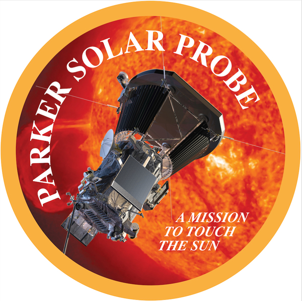 بداخل الدائرة باركر سولار بروب، بعثة تمس الشمس، أول بعثات ناسا للمضي نحو الشمس، هي بعثة باركر سولار برزب، وهي سميت بذلك تيمنا بيوجين باركروهو أول من قدم نظرية قائلة بأن الشمس تصدر باستمرار تدفقاً من الجسيمات والطاقة يدعى الرياح الشمسية) Credits: NASA/APL