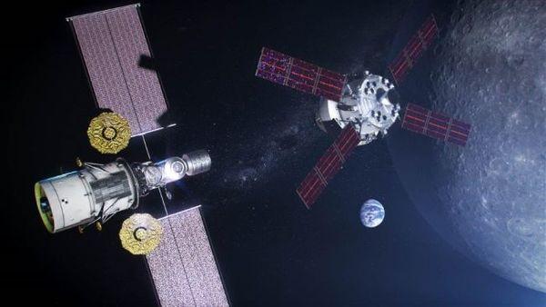 تصميم فني للبوابة. محطة فضائية مصغرة تخطط ناسا لبناءها في المدار القمري. حقوق الصورة : NASA