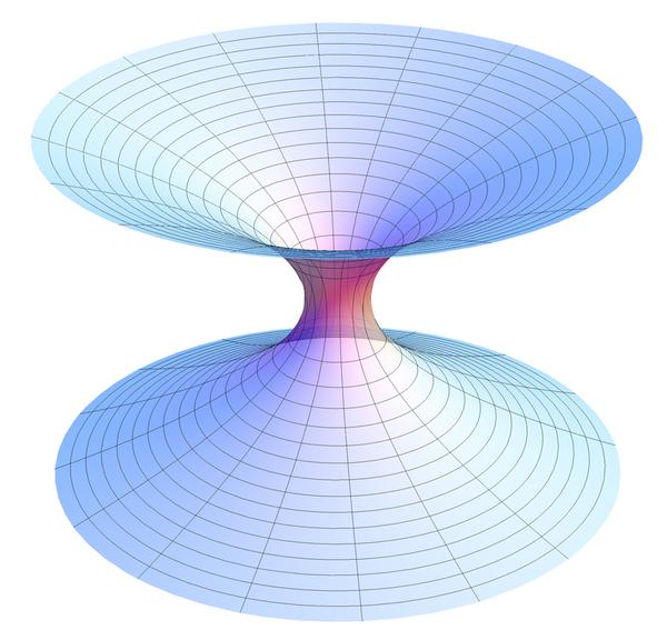 شكل تمثيلي للثقب الدودي، وهو طريق مختصر يصل نظرياً بين موضعين بعيدين في الكون. المصدر: ويكيبيديا.