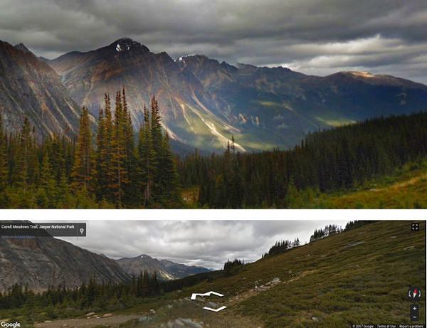 صورةٌ احترافيةٌ في الأعلى، وفي الأسفل صورةٌ تعتمد على ميزة الذكاء الاصطناعي لغوغل. مصدر الصورة: فريق بحث غوغل.