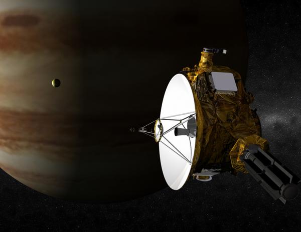 صورة فنية لنيوهورايزونز أثناء مرورها من المشتري. حقوق الصورة: NASA/JPL/JHUAPL