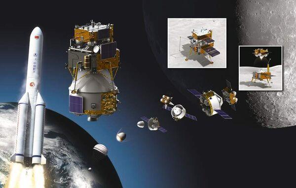 صورة فنية تظهر وحدات مهمة تشانغ آه 5 الصينية. حقوق الصورة: All About Space//Future