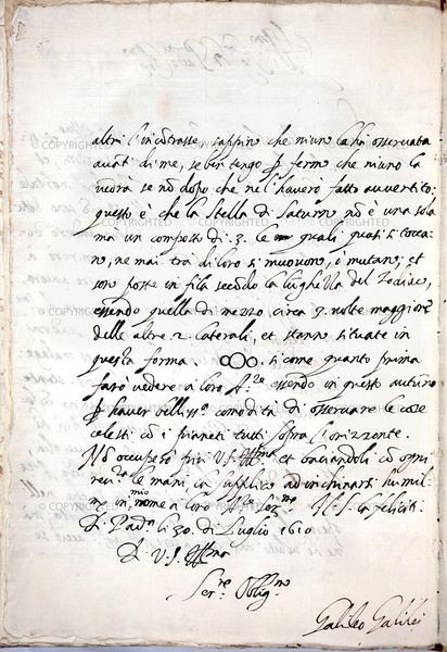 غاليليو غاليلي (1564-1642) رسائل إلى بيليساريو فينتا، بادوفا، يوليو/تموز 1610  فلورنسا، المكتبة الوطنية المركزية، المخطوطة 86، وكذلك 42r (مكتبة متاحة للعموم)