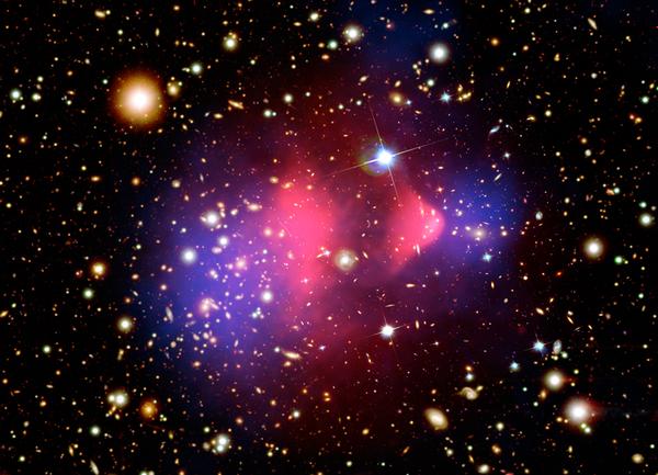 عنقود الرصاصة هذا يوضّح آثار التصادم الكونيّ بين عنقودي مجرّات، بهذه الصورة معدّلة الألوان، الغاز الحار (زهري اللون) تباطئ في التصادم بسبب قوّة الدفع، بينما تظهر المادة المظلمة (اللون الأزرق) بأنّها تتابع حركتها، ما يجعلنا نتوقع كونها مادة مظلمة من النوع عديم التصادم مصدر الصورة: وكالة ناسا.