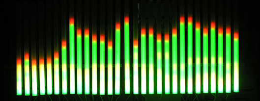 مثال على تحويل فورييه كما هو موضح في واجهة نظام الصوت.