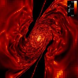 حقل مغناطيسي مضطرب يتشكَّل بعد تمزُّق نجمي جزئي وإعادة التحام الذيول المدية. مقتبس عن Guillochon & McCourt 2017