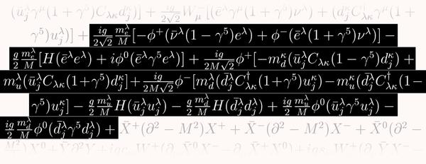 يصف هذا الجزء من المعادلة كيفية تفاعل جسيمات المادة مع أشباح هيغز -ناتج اصطناعي وافتراضي لحقل هيغز.
