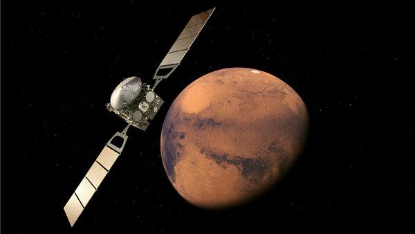 صورة فنية لمركبة مارس اكسبرس المدارية أثناء دورانها حول المريخ. حقوق الصورة: ESA