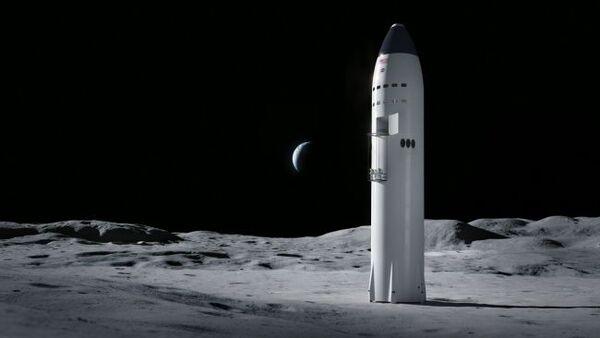 الصورة الأولى: تُظهر هذه الصورة تصوّراً لمركبة سبايس إكس الفضائية الضخمة على سطح القمر والتي تمثّل أيضاً وحدة هبوط قمرية لأجل رواد فضاء برنامج أرتيمس التابع لناسا. حقوق الصورة: SpaceX