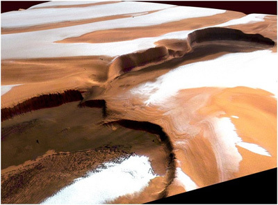 الغطاء القطبي الشمالي على كوكب المريخ. المصدر: G. Neukum - ESA/DLR/FU Berlin