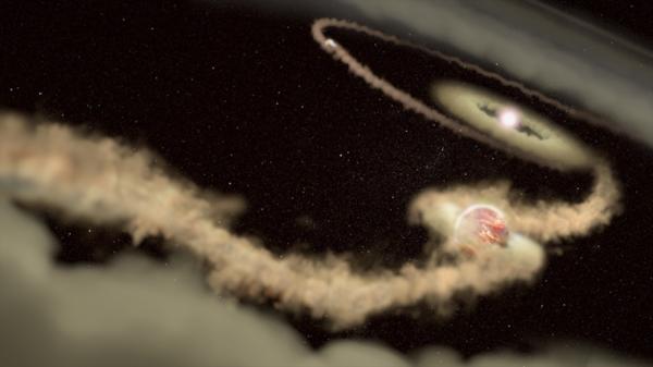 يُظهِر التصور الفني كوكبَين غازيَين عملاقَين خارج النظام الشمسي يدوران حول نجمٍ حديث المنشأ PDS70. لا يزال الكوكبان ينميان من خلال تجميع المواد من القرص المحيط حول النجم في هذه العملية، وشكّلا فجوةً كبيرةً في القرص، تعادل أبعادها مسافة مدارات أورانوس ونبتون حول الشمس. حقوق الصورة:J. Olmsted STScI