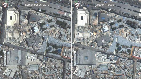 """صور من القمر الصناعي """"WorldView-3"""" توضح مدفن """"حضرت معصومة"""" المعروف بـ """"مدفن فاطمة بنت موسى الكاظم"""" في مدينة قم بإيران، قبل وبعد تفشي فيروس كورونا. سُجلت أول حالة مصابة بكورونا في إيران في مدينة قم في يوم 19 فبراير/شباط 2020.   حقوق الصورة: (Satellite image ©2020 Maxar Technologies)."""