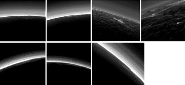 هل الجو غائم جزئياً على بلوتو؟ إن غلاف بلوتو الجوي الحالي الضبابي يخلو بشكل كامل تقريباً من الغيوم، على الرغم من أن العلماء في بعثة نيوهورايزنز التابعة لناسا قد حددوا بعض ما يرشح بأنه غيوم بعد تفحص الصور التي التقطتها كاميرا الاستطلاع بعيد المدى وكاميرا الصور المرئية متعددة الطيف من على نيوهورايزنز، أثناء تحليق المركبة في نظام بلوتو عام 2015. وكلها منخفضة التوضع وذات معالم صغيرة منفصلة -فلا وجود لتكدس أو مجموعات عريضة من الغيوم- وبينما لا يمكن تأكيد ماهية أي من هذه المعالم بواسطة التصوير المجسم، يقول العلماء أنها تشير إلى غيوم نادرة متكاثفة.  حقوق الصورة: NASA/JHUAPL/SwRl