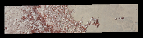 في الأعلى صورٌ عالية الدقة لبلوتو التقطتها المركبة الفضائية نيوهورايزنز قبل وصولها إلى أقرب مسافة لها من الكوكب القزم بتاريخ 14 يوليو/تموز 2015. وتكشف هذه الصور عن معالم بمقياس صغير يبلغ 270 ياردة (أي 250 متراً)، فتظهر فيها الفوهات والكتل الجبلية المُتصدّعة، إلى جانب السطح المليء بالتضاريس في أحد الأحواض الواسعة الذي يُدعى بـ : سبوتونيك بلانوم Sputnik Planum. وقد تمت إضافة ألوان مُحسّنة من الصورة الملونة الشاملة. تُغطي هذه الصورة مساحة من الأرض تبلغ حوالي 330 ميلاً (530 كم). ولرؤيةٍ أفضل، قم بتكبيرِ الصورة لتشاهدها بمقياس أكبر.  المصدر NASA/JHUAPL/SWRI