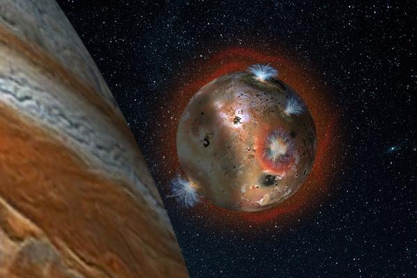 انطباع فني يوضح انهيار الغلاف الجوي لقمر المشتري البركاني أيو، والذي يتعرض للكسوف لمدة ساعتين يوميا (أي ما يعادل 1,7 من اليوم الأرضي) بفعل ظل المشتري. ويؤدي انخفاض درجات الحرارة إلى تجمد غاز ثاني أكسيد الكبريت، ما يتسبب في انكماش الغلاف الجوي كما نرى في المنطقة المظللة إلى اليسار.   المصدر: SwRI/Andrew Blanchard