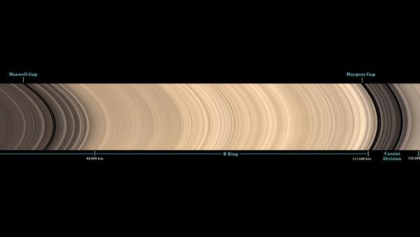 هذه الصورة تم اقتصاصها  من مشهد شامل (بانورامي) لنظام الحلقات الرئيسية التابعة لزحل، ويتضمن أسماء معالم الحلقات الرئيسية. حقوق الصورة: NASA/JPL-Caltech/Space Science Institute