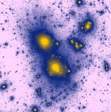 نتيجة محاكاة Illustris وتوضح توزع كثافة المادة المظلمة في الكون باللون الأرجواني