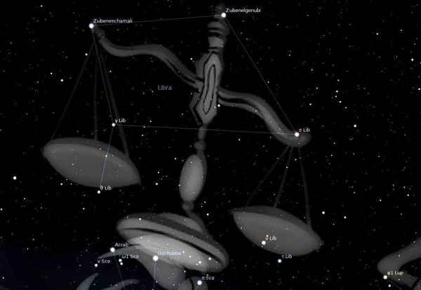 اعتبرت النجوم المكونة لكوكبة الميزان يوماً ما جزءاً من كوكبة العقرب. حقوق الصورة: Stellarium