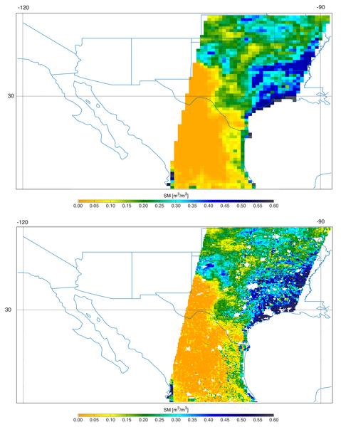 بيانات SMAP عندما الحقت العواصف الشديدة الضرر بتكساس. في الأعلى: بيانات مقياس كثافة الطاقة الإشعاعية، وفي الاسفل: الجمع بين بيانات الرادار ومقياس كثافة الطاقة الإشعاعية بدقة 5.6 ميل (9 كيلومتر)