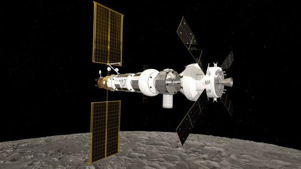 محاكاة تظهر محطة لونارغيتواي تدور حول القمر مع مركبة طاقم أوريون (باليمين). حقوق الصورة: ESA/NASA/ATG Medialab