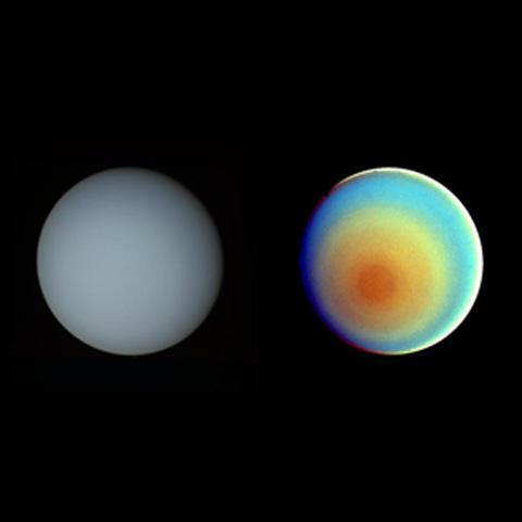 تكشف هذه الصورة إلى جهة اليمين بالألوان الزائفة والتي تم تحسين التباين فيها، عن وجود أحزمة رقيقة من الغيوم الكثيفة التي تحيط بالقطب الجنوبي لأورانوس.  المصدر: NASA/JPL-Caltech