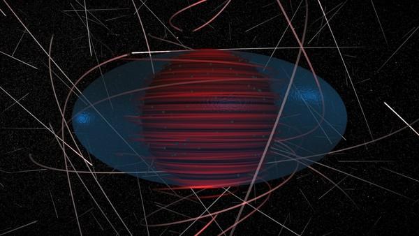 يظهر هذا التصور جسيمات المادة المظلمة ككرات رمادية متصلة بمسارات مظلّلة تمثل حركتها. تشير المسارات الأكثر احمراراً لجسيمات متأثرة بجاذبية الثقب الأسود بشكل أكبر، وأقرب لأفق الحدث (كرة سوداء فى المركز تجعلها المسارات شبه مختفية). يظهر الإرغوسفير (ergosphere)، حيث يجب أن تتبع كلُ المادة والضوء دوران الثقب الأسود، بلون أزرق ضارب إلى الخضرة. يُرى الثقب الأسود على امتداد قطره، ويدور من اليسار لليمين.