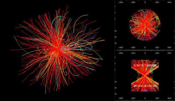 بروتونات تتصادم في التيرا إلكترون فولط بتاريخ 3 يونيو/حزيران 2015 داخل كاشف ALICE. حقوق الصورة: ALICE