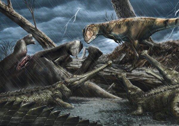 كاركارودونتوسوريس (Carcharodontosaurus) ينظر إلى مجموعة من الحيوانات المفترسة التي تشبه التماسيح والتي تدعى ايلوزوكس (Elosuchus). (حقوق الصورة: Davide Bonadonna)