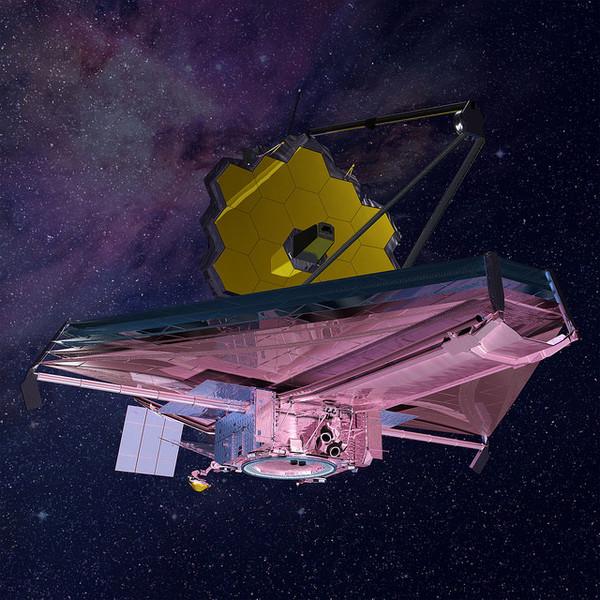 رؤية فنان لتلسكوب جيمس ويب، الذي سينطلق في عام 2018. وسيساعد علماء الفلك بدراسة الغلاف الجوي الخاص بالكواكب الخارجية. المصدر: NASA