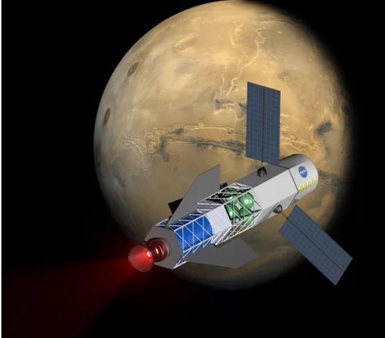 تصورٌ فني لصاروخ يعمل بالاندماج النووي يزود مركبة فضائية في طريقها إلى المريخ بالطاقة، حيث تعمل شركة برينستون ساتلايت سيستمز (Princeton Satellite Systems) على تطوير مركبات صغيرة تعمل بالاندماج يمكنها أن تجعل مهمات كالسابقة واقعاً. حقوق الصورة: university of Washington, MSNW
