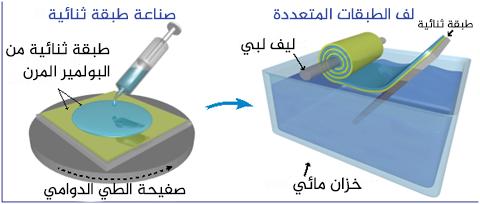 تصنيع الألياف المغيرة للون، إن طبقة (الأخضر) السفلى هي ثنائي ميثيل بولي سيلوكسان والجزء العلوي (الأزرق) هي طبقة بوليسوبرين البوليستيرين من البولميرات ثلاثية التعاقب، وتوالت هذه الطبقات ملفوفة على ليف زجاجي، يمكن لاحقاً إزالة ليف الزجاج من داخلها بمواد كيميائية.